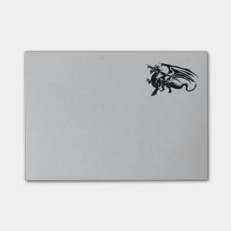 Silueta negra del dragón post-it nota