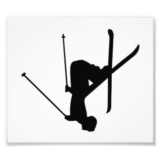 Silueta negra del esquí fotografías