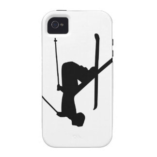 Silueta negra del esquí Case-Mate iPhone 4 funda