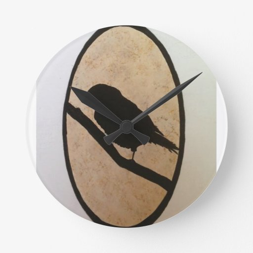 Silueta negra del pájaro relojes de pared