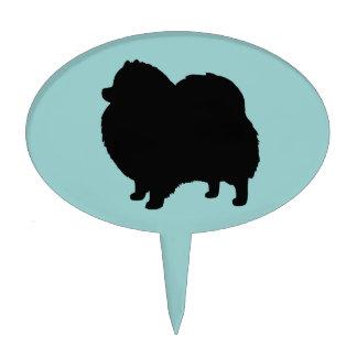 Silueta negra del perro de Pomeranian Figuras Para Tartas