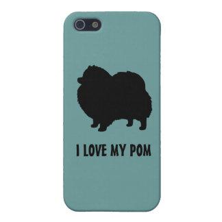 Silueta negra del perro de Pomeranian - amor de I  iPhone 5 Carcasas