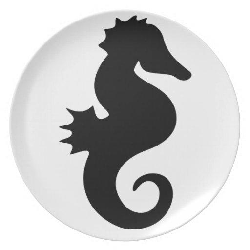 Silueta negra del Seahorse Plato