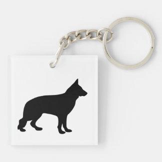 Silueta negra hermosa del perro de pastor alemán llavero cuadrado acrílico a doble cara