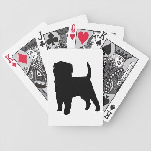 Silueta negra hermosa del perro del Affenpinscher Baraja De Cartas