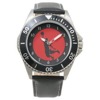 Silueta negra roja del baloncesto reloj de mano