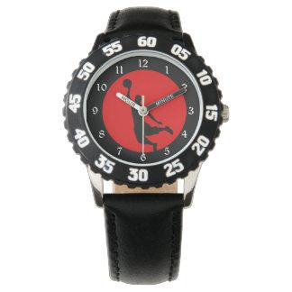 Silueta negra roja del baloncesto relojes de pulsera