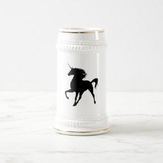 Silueta negra Stein del unicornio Jarra De Cerveza