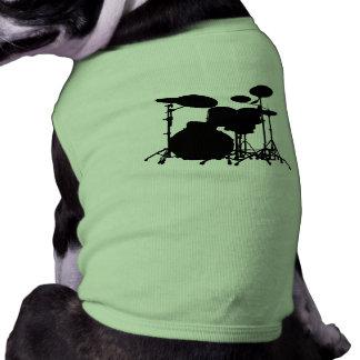 Silueta negra y blanca de la batería - para los ba playera sin mangas para perro