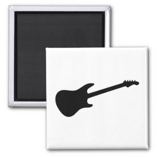 Silueta negra y blanca de la guitarra eléctrica imán cuadrado