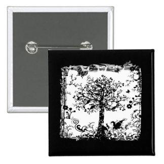 Silueta negra y blanca de la mariposa del árbol pin cuadrado