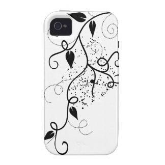 Silueta negra y blanca de la rama del remolino de  Case-Mate iPhone 4 fundas