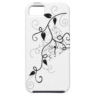 Silueta negra y blanca de la rama del remolino de iPhone 5 carcasas