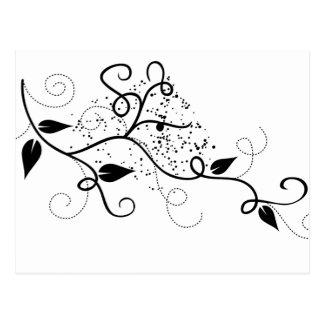 Silueta negra y blanca de la rama del remolino de tarjetas postales
