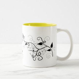 Silueta negra y blanca de la rama del remolino de  taza dos tonos