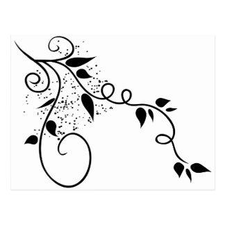 Silueta negra y blanca de la rama del remolino del postal