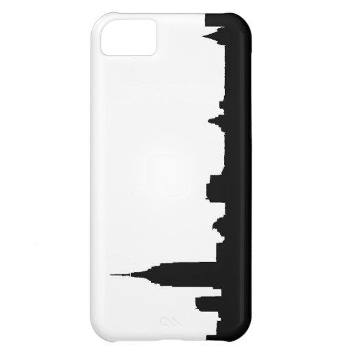 Silueta negra y blanca de Nueva York Funda Para iPhone 5C