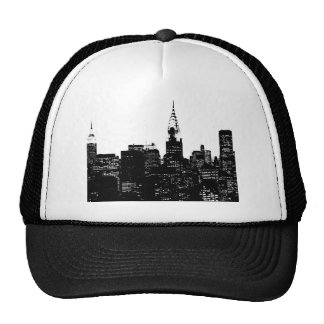 Silueta negra y blanca de Nueva York Gorras
