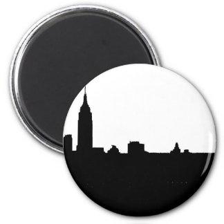 Silueta negra y blanca de Nueva York Imán Redondo 5 Cm