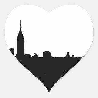 Silueta negra y blanca de Nueva York Pegatina En Forma De Corazón