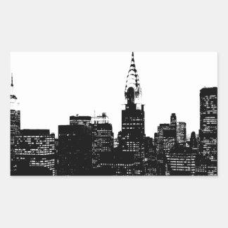 Silueta negra y blanca de Nueva York Rectangular Pegatina