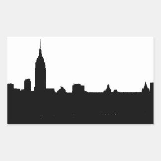 Silueta negra y blanca de Nueva York Pegatina Rectangular