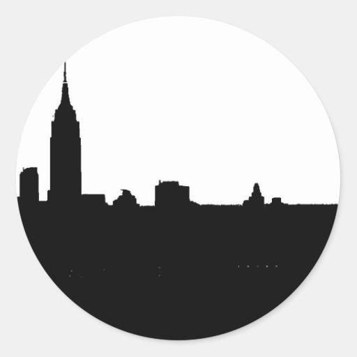 Silueta negra y blanca de Nueva York Pegatina Redonda