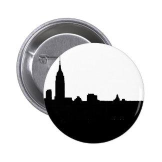 Silueta negra y blanca de Nueva York Pins