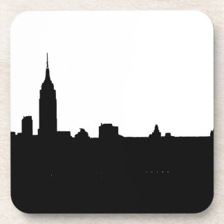 Silueta negra y blanca de Nueva York Posavaso