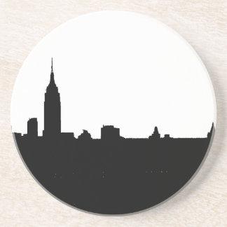 Silueta negra y blanca de Nueva York Posavasos Manualidades