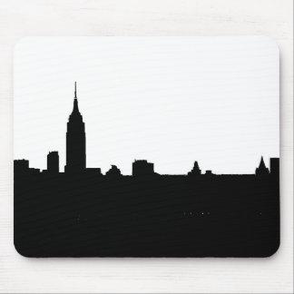 Silueta negra y blanca de Nueva York Tapete De Ratón