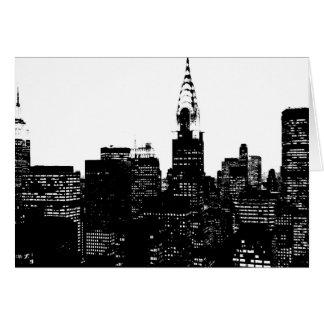 Silueta negra y blanca de Nueva York Tarjeta