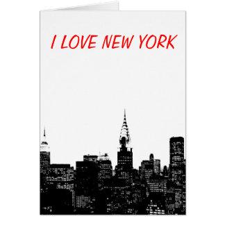Silueta negra y blanca de Nueva York Tarjeton
