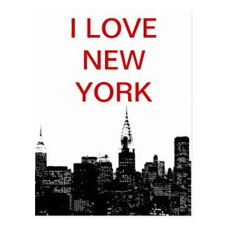 Silueta negra y blanca de Nueva York Tarjeta Postal