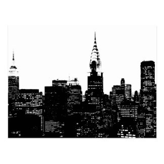 Silueta negra y blanca de Nueva York Tarjetas Postales