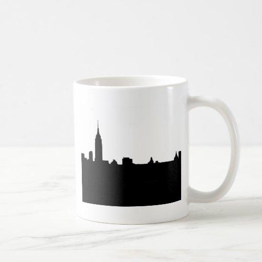 Silueta negra y blanca de Nueva York Taza De Café