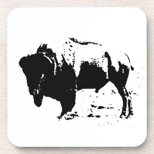 Silueta negra y blanca del arte pop del búfalo posavasos de bebida