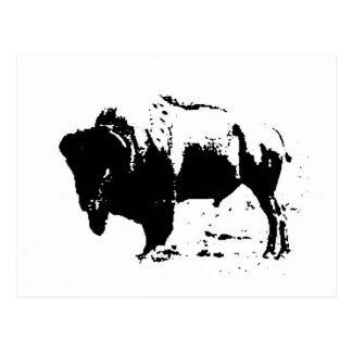 Silueta negra y blanca del arte pop del búfalo postales