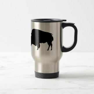 Silueta negra y blanca del arte pop del búfalo tazas de café