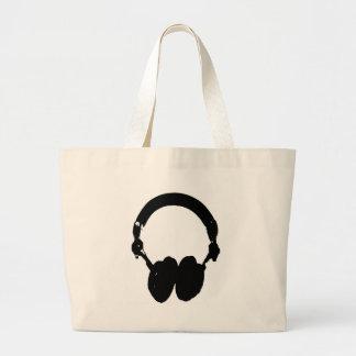 Silueta negra y blanca del auricular bolsa