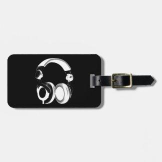 Silueta negra y blanca del auricular etiquetas para maletas