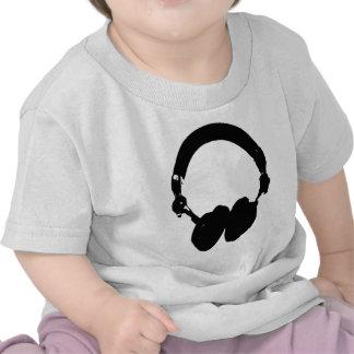 Silueta negra y blanca del auricular camiseta