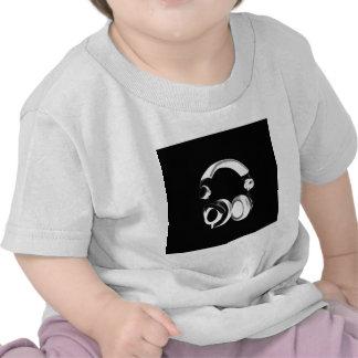 Silueta negra y blanca del auricular camisetas