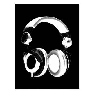 Silueta negra y blanca del auricular postales