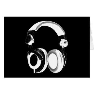Silueta negra y blanca del auricular tarjeta de felicitación