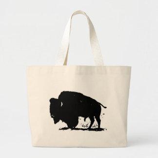 Silueta negra y blanca del búfalo bolsa tela grande