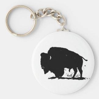 Silueta negra y blanca del búfalo llavero redondo tipo pin
