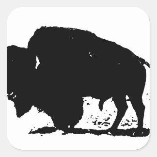 Silueta negra y blanca del búfalo pegatina cuadrada