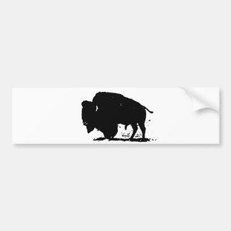 Silueta negra y blanca del búfalo pegatina para auto