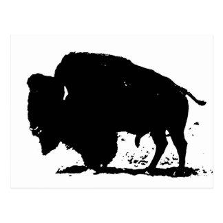 Silueta negra y blanca del búfalo tarjetas postales